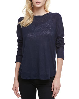 Vince Loose Long-Sleeve Tee, Coastal