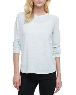 Vince Loose Long-Sleeve Tee, Aqua