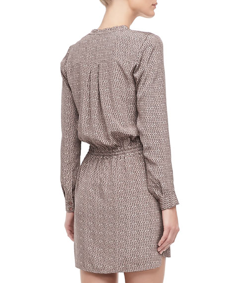 Printed Silk Drawstring Dress