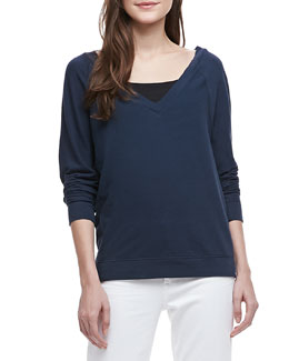 Vince V-Neck Cotton Sweatshirt