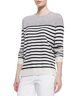 Vince Colorblock Striped Cashmere Sweater, Steel/Black/White