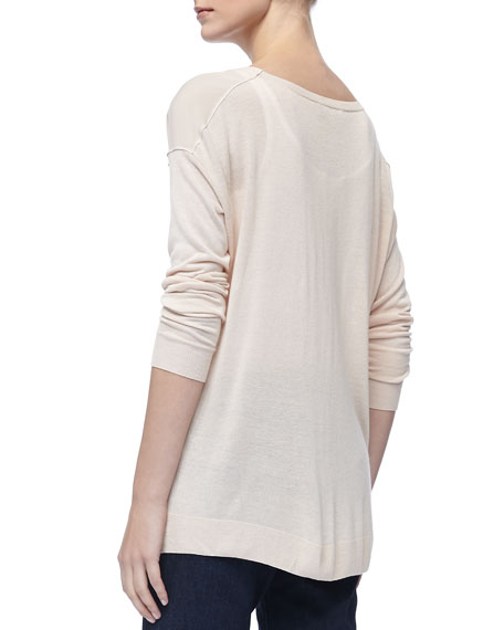 Mixed-Fabric Long-Sleeve Sweater, Blossom