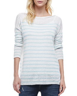 Vince Striped Lightweight Knit Sweater