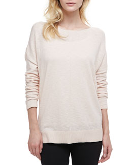 Vince Cotton Slub Rib-Trim Sweatshirt, Blossom