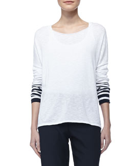 Vince Stripe-Sleeve Slub Sweater