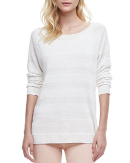 Vince Striped Intarsia Sweater, White