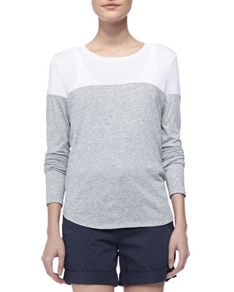 Two-Tone Slub Tee, Gray/White