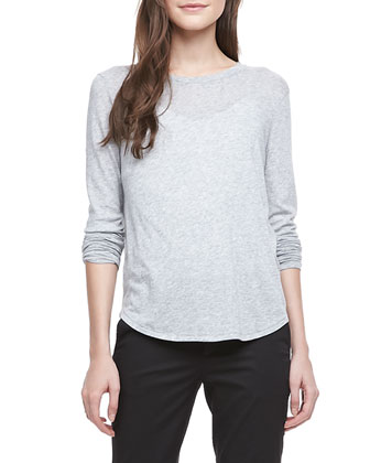 Long-Sleeve Slub Tee, Gray