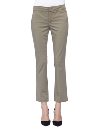 Straight-Leg Twill Capri Pants