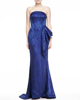 Pamella Roland Strapless Mermaid Jacquard Gown