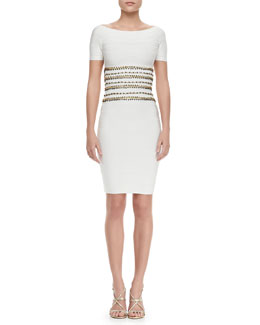 Herve Leger Stud-Bodice Bandage Dress