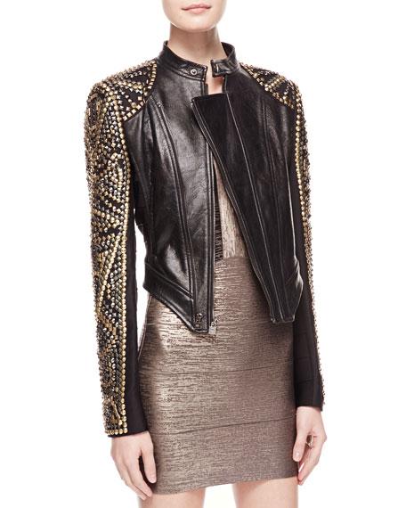 Studded Asymmetric Leather Jacket