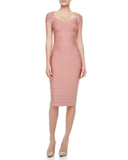Herve Leger Beaded-Sleeve Bandage Dress