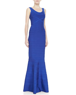 Herve Leger Scoop-Neck Bandage Gown, Cobalt