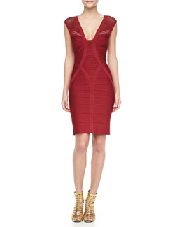 Herve Leger V-Neck Cutout Bandage Dress