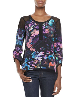 Nanette Lepore Love Letter Printed Silk Top