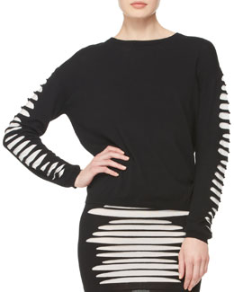 McQ Alexander McQueen Slashed-Knit Pullover Sweater