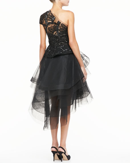 Beaded Lace One-Should Cocktail Dress