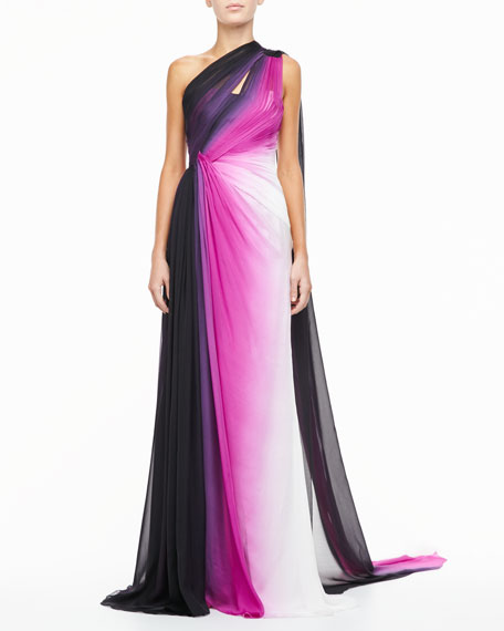 Silk One-Shoulder Gown, Ombre