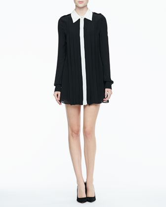 Laurel Contrast Pleated Shirtdress