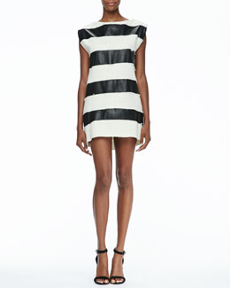 Rachel Zoe Bryant Leather/Tweed Striped Dress