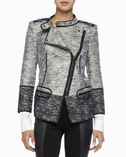 Rachel Zoe Davenport Asymmetric Tweed Jacket