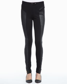 Rachel Zoe Trudie Leather-Panel Skinny Pants