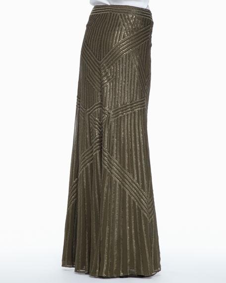 Sequined Chiffon Maxi Skirt