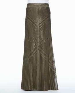 Rachel Zoe Sequined Chiffon Maxi Skirt