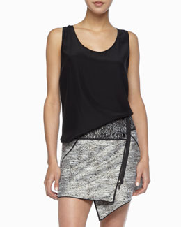 Rachel Zoe Kathleen Scoop-Neck Tank, Black