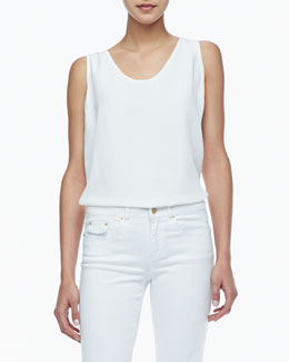 Rachel Zoe Kathleen Scoop-Neck Tank, White