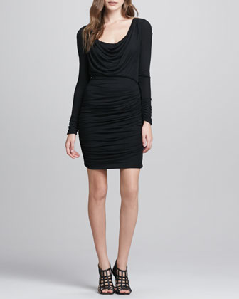 Draped Ruched Jersey Dress
