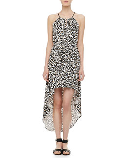 Milly Cheetah-Print Hi-Lo Dress