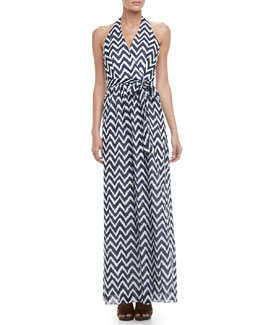 Milly Gustavia Zigzag-Print Halter Dress