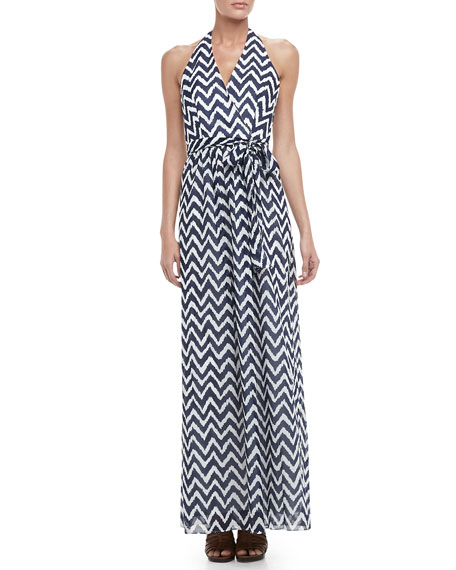 Gustavia Zigzag-Print Halter Dress