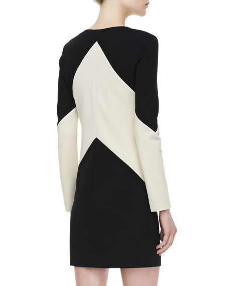Sheridan Long-Sleeve Two-Tone Dress