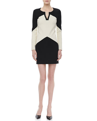 Sheridan Long-Sleeve Two-Tone Dress