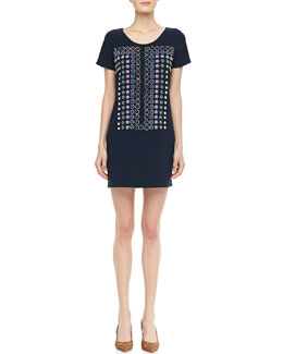Diane von Furstenberg Owen Sugar Studs Short-Sleeve Dress