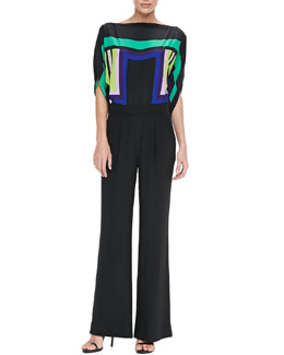 Diane von Furstenberg Lucy Jumpsuit with Wide Leg Pants
