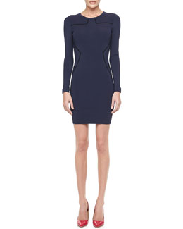 Diane von Furstenberg Josephine Long-Sleeve Dress with Piping
