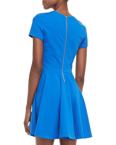 Ivana Short-Sleeve Full-Skirt Dress