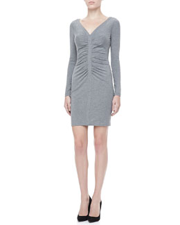 Diane von Furstenberg Greece Long-Sleeve Ruched Front Dress, Heather Gray