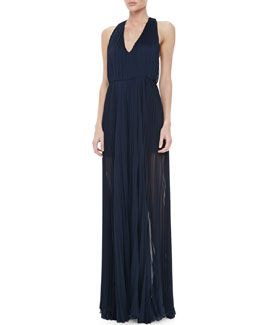 Alice + Olivia Sheer Pleated Chiffon Jumpsuit