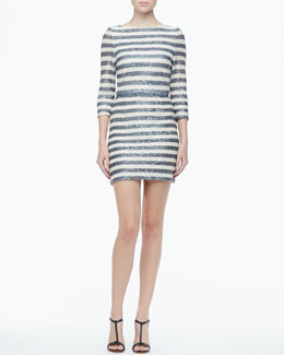 Alice + Olivia Pammy Striped Sequined Dress
