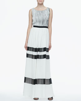 Alice + Olivia Rai Fringe-Stripe Maxi Dress
