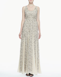 Alice + Olivia Kravit Fluted Lace Maxi Dress
