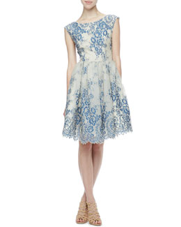 Alice + Olivia Fila Lace-Overlay Party Dress