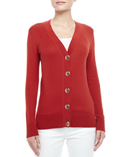 Tory Burch Simone Logo-Button Cardigan, Acai Red