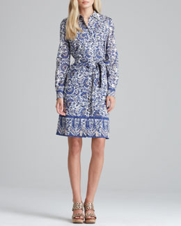 Tory Burch Brigitte Printed Tie-Waist Dress