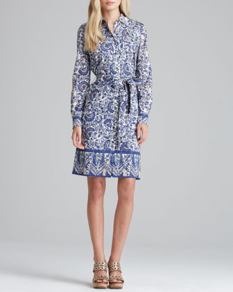 Brigitte Printed Tie-Waist Dress